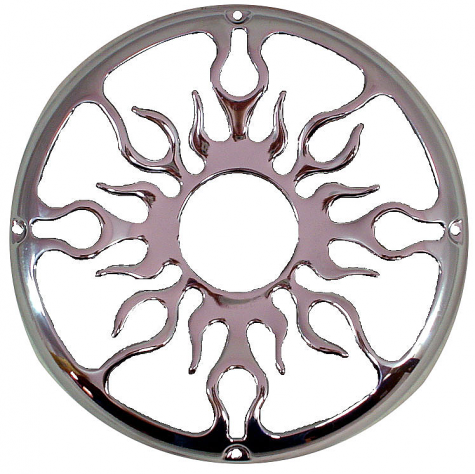 "10"" Flame Design Sub Box Enclosure Protective Polished Aluminum Grill"
