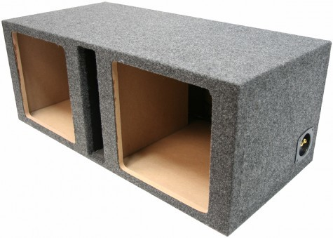 "Dual 10"" Ported Kicker Square Sub Box Enclosure"