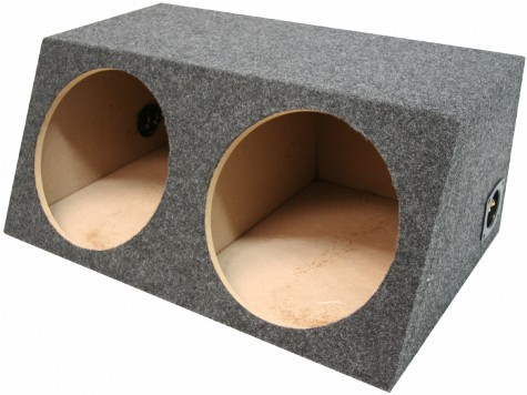 "Dual 12"" Angled Hatch Sealed Universal Fit Sub Box Enclosure"