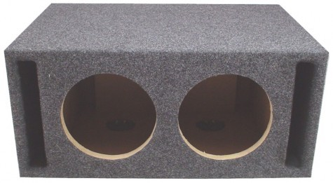 "Dual 12"" Slot Vented Megabass Universal Fit Sub Box Enclosure"