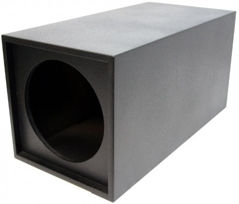 "Single 12"" Round Ported Tube Universal Fit Sub Box Enclosure (Armor Coated)"