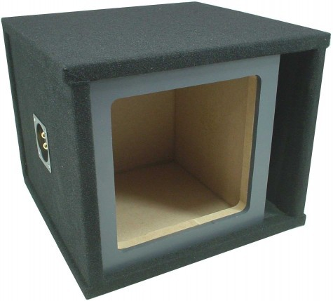 "Single Kicker Square 12"" Slot Vented Paintable Baffle Universal Fit Sub Box Enclosure"